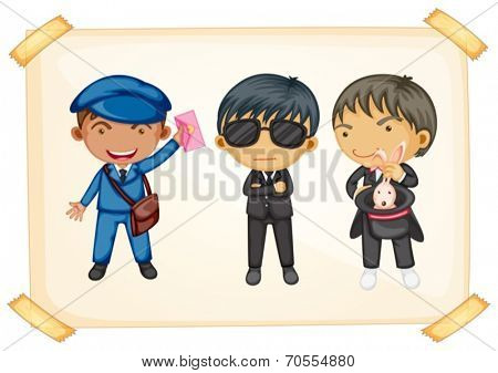 Illustration of a postman, a bodyguard, and a magician