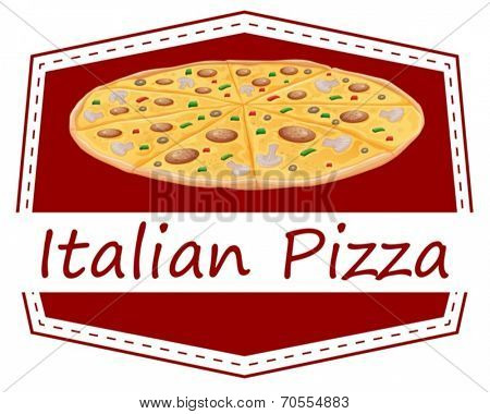 Illustration of an Italian pizza label on a white background