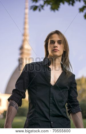 Handsome Young Man Next To Mole Antonelliana In Turin, Italy