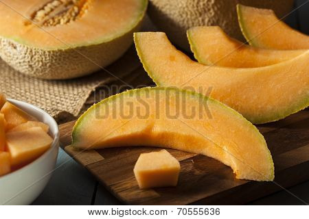 Healthy Organic Orange Cantaloupe