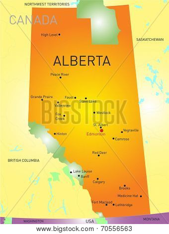 Alberta vector province color map