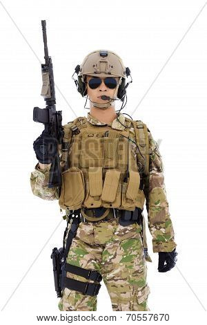 Soldier With Rifle Or Sniper  Over  White Background