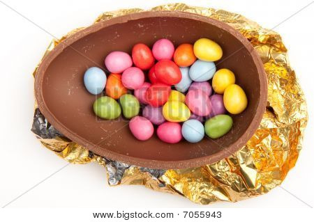 Chocolate Easter Egg Half On Foil