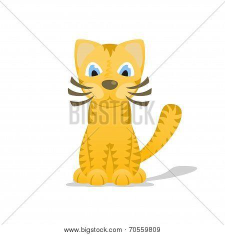 Cartoon tiger cat with shadow