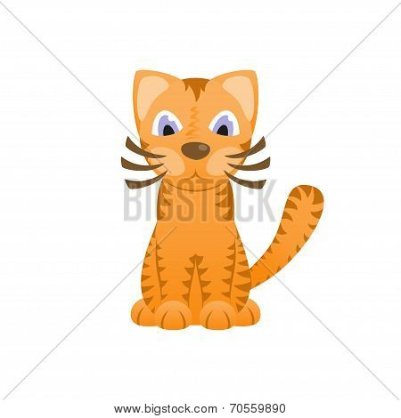 Cartoon cat looks like tiger, cute kitten, tiger cub