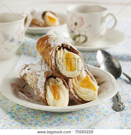Sicilian Cannoli With Orange. Typical Sicilian Pastry