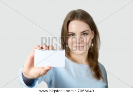 Smiling Woman Holding Blank Business Card
