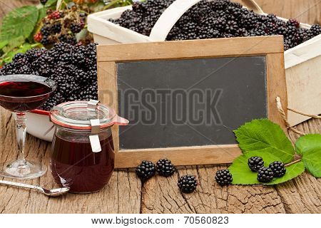 Ripe Blackberries And A Jar Blackberry Jelly
