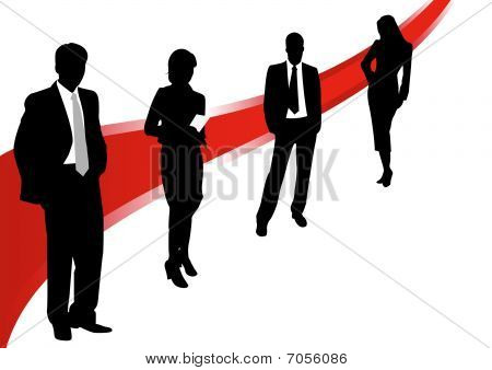 Illustration of business men and women