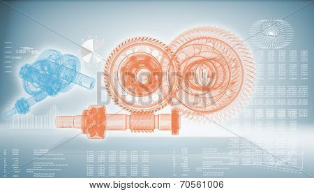 High-tech Gear On A Blue Background