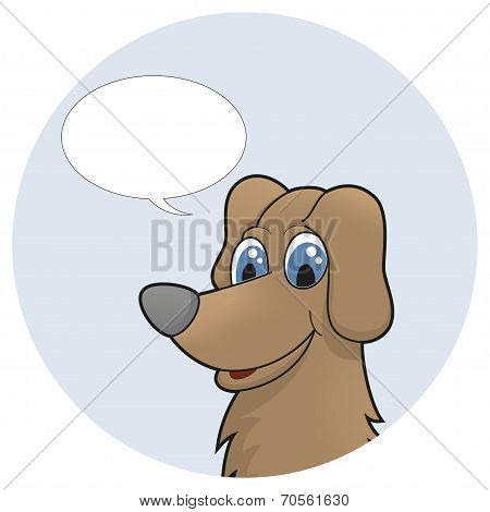 Cute cartoon puppy with speech bubble. Vector illustration