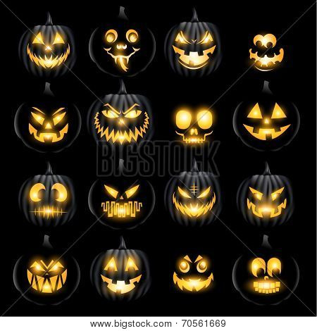 Set of vector jack o lantern pumkins halloween faces