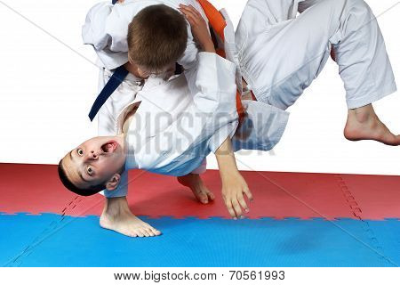 Nage-waza technique in performing sportsman with a blue belt