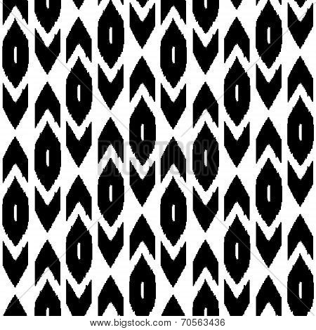 Simple ikat middle east traditional silk fabric seamless pattern in black and white, vector