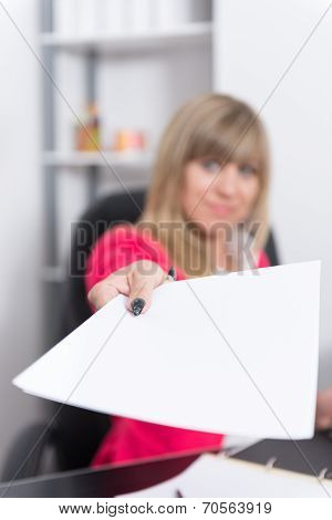 Woman Is Handing Over A Document