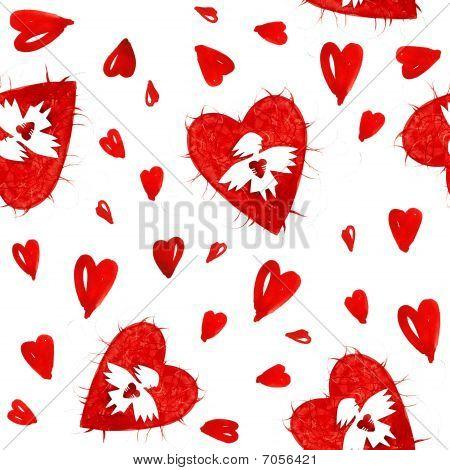 Постер, плакат: Красный Ангелы любви с сердца бесшовные модели, холст на подрамнике
