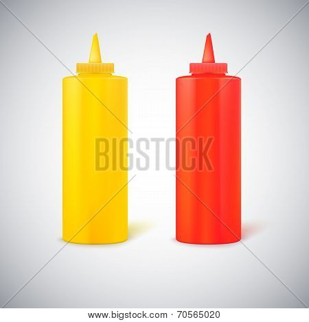 Close up bottles of mustard and ketchup