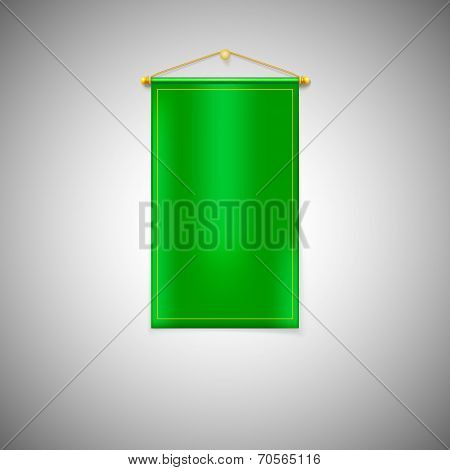 Green pennant on white background.