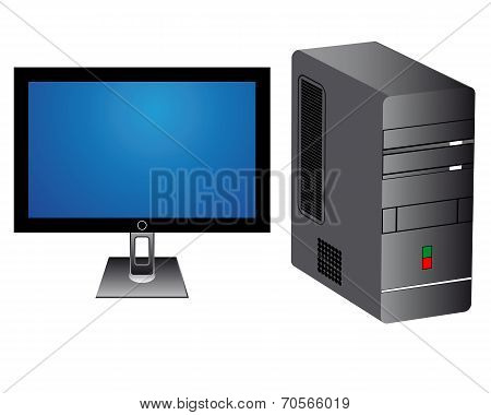 Monitor And Computer Tower
