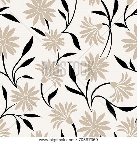 Seamless pattern with beige flowers and black leaves. Vector illustration.