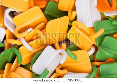Plastic hooks background.