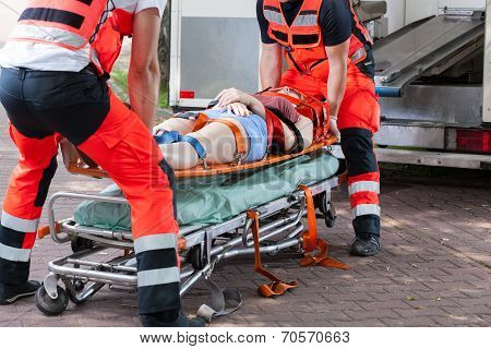 Woman After Accident On The Stretcher