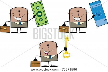 Businessman Dude Cartoon Character 11  Collection Set