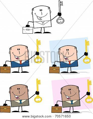 Businessman Dude Cartoon Character 6  Collection Set