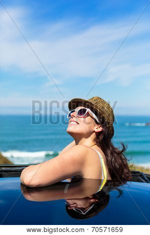 Happy Woman On Summer Car Travel