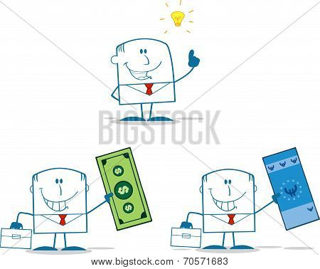 Businessman Dude Monochrome Cartoon Character 1. Collection Set