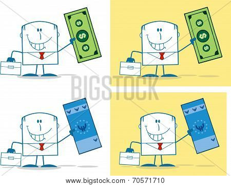 Businessman Dude Monochrome Cartoon Character 4. Collection Set
