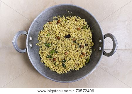 Flattened rice or beaten rice south Indian dish