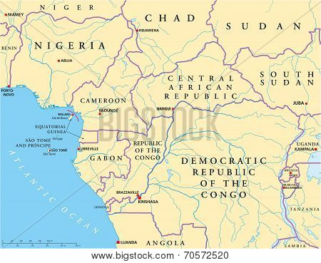 West Central Africa Political Map