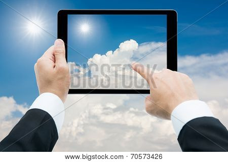 Businessman Hands Tablet Taking Pictures The Sun And White Clouds Background