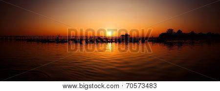 U Bein Bridge At Sunset, Burma (myanmar)