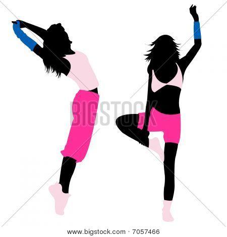 Silhouette girl fitness