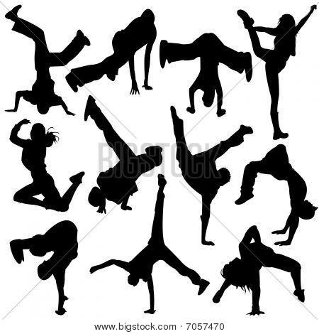 Silhouette people jumping break dance , dance