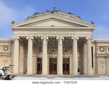 The Romanian Athenaeum In Winter