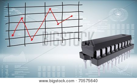 Microchip and graph of price changes