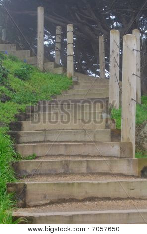 Steep Wooden Stairs In Foggy Day