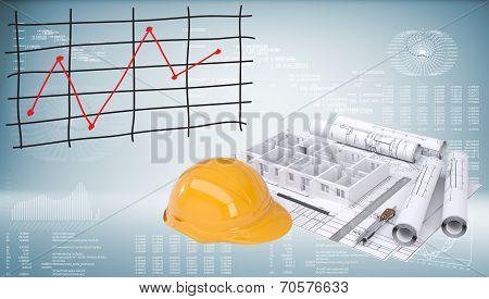 Drawings, helmet and building walls