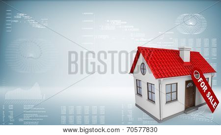 Small house with a label for the sale