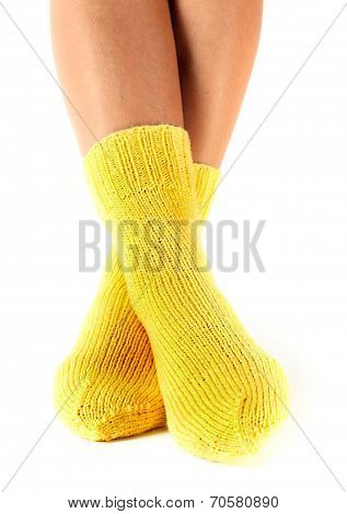 Woman Legs In Woollen Socks