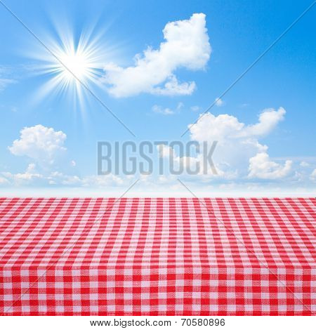 Canvas Texture Or Background On Table. Blue Sea And Clouds Sky