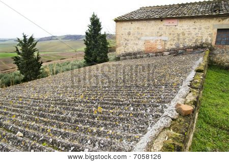 Old And Rusted Asbestos Roof In The Tuscan Countryside