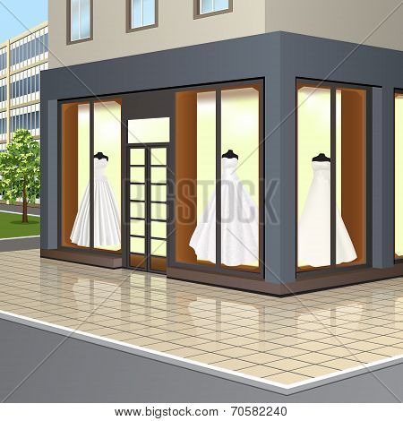 Shop Window With Wedding Dresses