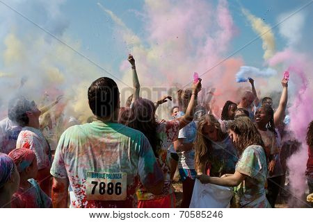 People Create Color Explosion At Bubble Palooza Event