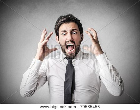 young businessman shouting