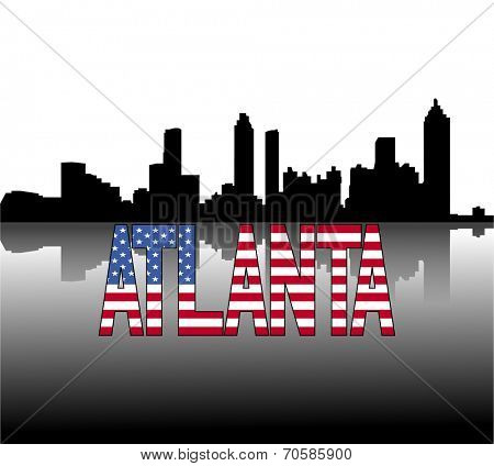 Atlanta skyline reflected with American flag text vector illustration