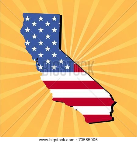 California map flag on yellow sunburst illustration